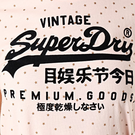Superdry - Tee Shirt Femme Good Shimmer Aop Entry W1000016B Rose Doré