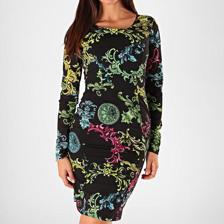 Versace Jeans Couture - Robe Femme Manches Longues D2HUB432-S0608 Noir Renaissance Floral