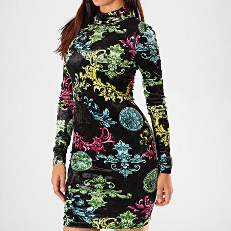 Versace Jeans Couture - Robe Femme Manches Longues D2HUB439-S0607 Noir Renaissance Floral