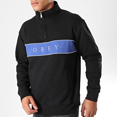 Obey - Sweat Col Zippé Deal Mock Noir Bleu