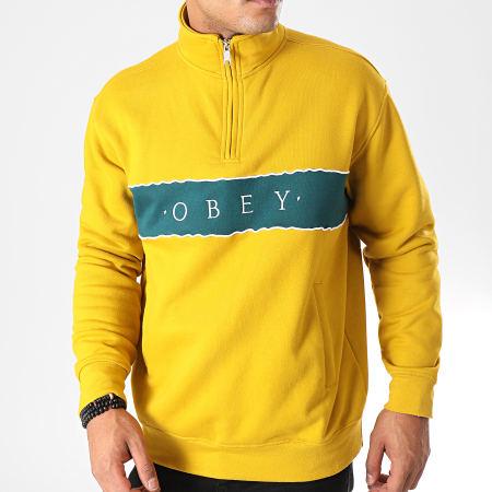 Obey - Sweat Col Zippé Deal Mock Jaune Vert