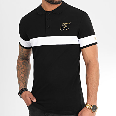 Final Club - Polo Gold Edition Tricolore Avec Broderie Or 307 Noir