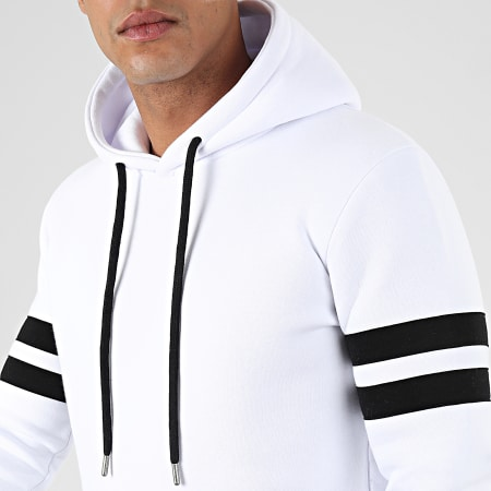 LBO - Sweat Capuche Avec Bandes 875 Blanc