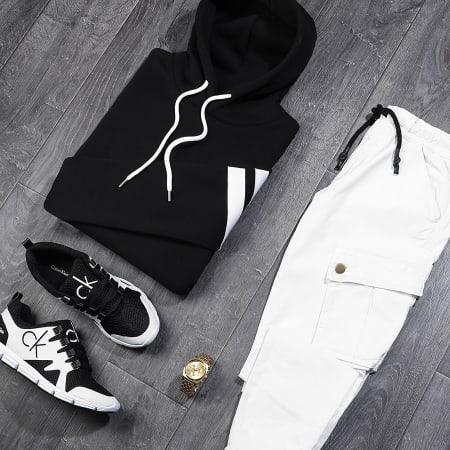 LBO - Sweat Capuche Avec Bandes 876 Noir Blanc
