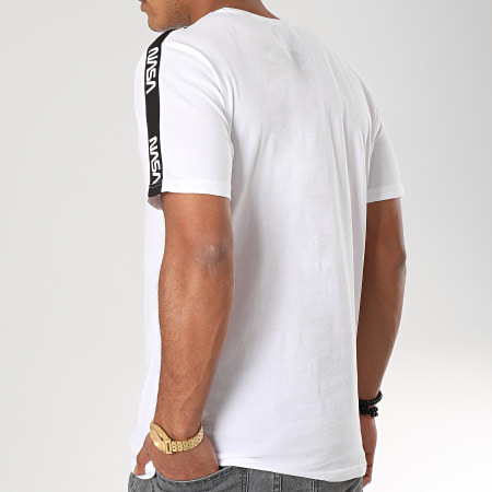 Only And Sons - Tee Shirt A Bandes NASA Blanc Noir