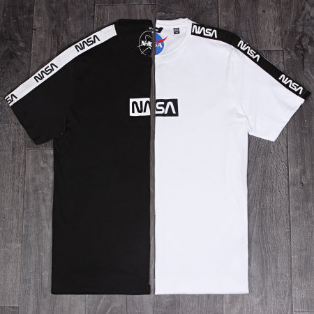 Only And Sons - Tee Shirt A Bandes NASA Noir Blanc