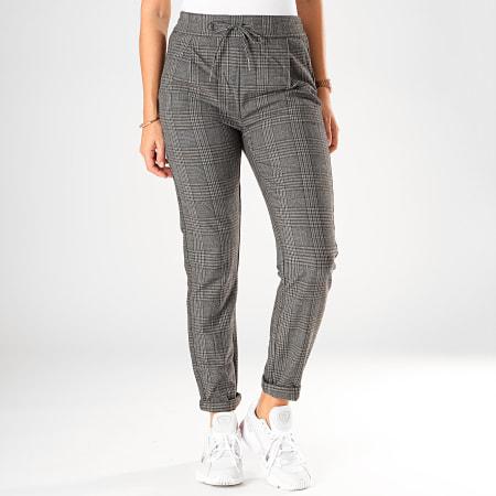 Vero Moda - Pantalon A Carreaux Femme Eva Loose Gris Chiné
