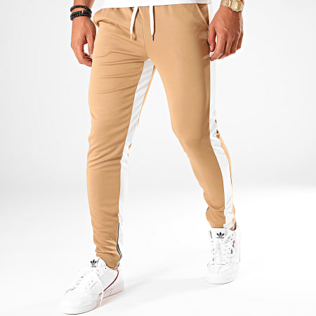 Frilivin - Pantalon Jogging A Bandes 1565 Marron Blanc