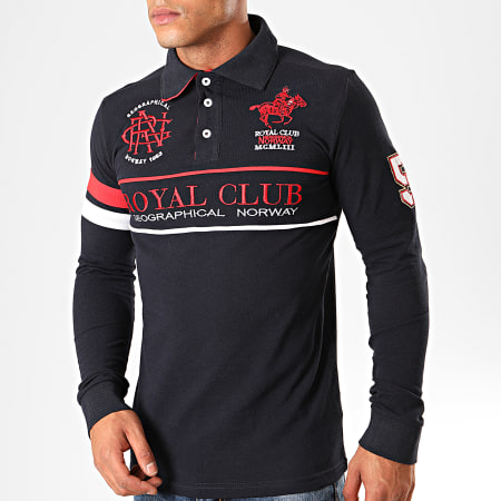 Geographical Norway - Polo Manches Longues Kockpit Bleu Marine