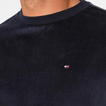 Tommy Hilfiger Jeans - Sweat Crewneck Velours A Bandes Track 1657 Bleu Marine