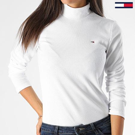 Tommy Hilfiger Jeans - Pull Femme Rib Mock Neck 7135 Blanc