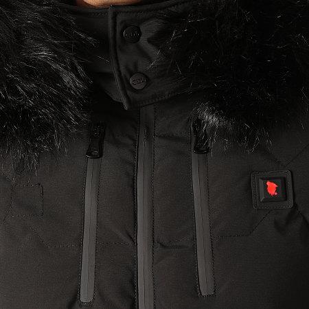Comme Des Loups - Doudoune Chauffante Capuche Fourrure Val D'Isère Noir