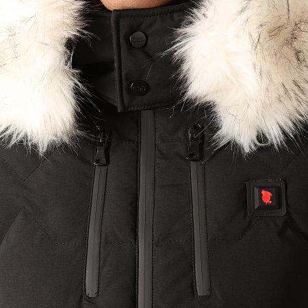 Comme Des Loups - Doudoune Chauffante Capuche Fourrure Val D'Isère Noir Blanc
