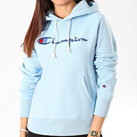 Champion - Sweat Capuche Femme Big Script 111555 Bleu Ciel