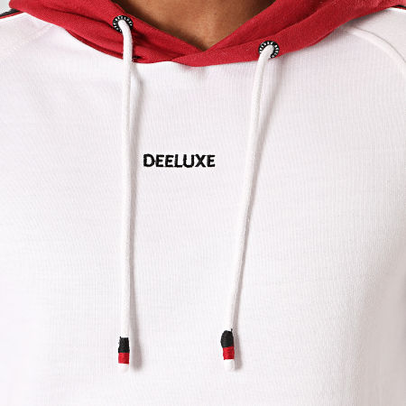 Deeluxe - Sweat Capuche A Bandes Look Blanc Bordeaux