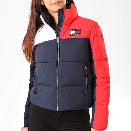 Tommy Hilfiger Jeans - Doudoune Femme Tricolore Colorblock 7365 Bleu Marine Rouge Blanc