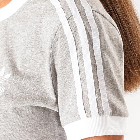 adidas - Tee Shirt Femme A Bandes ED7593 Gris Chiné Blanc