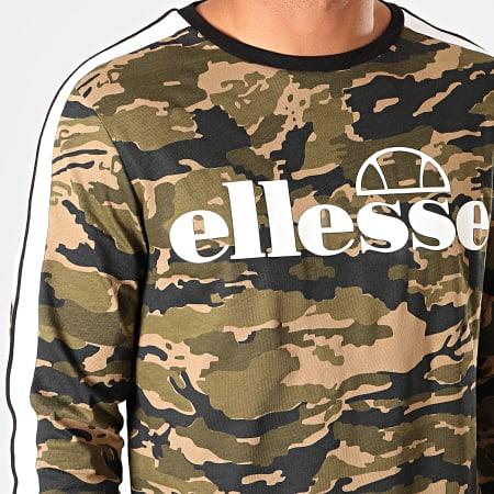 Ellesse - Tee Shirt Manches Longues A Bandes Ausa SHC07391 Vert Kaki Camouflage