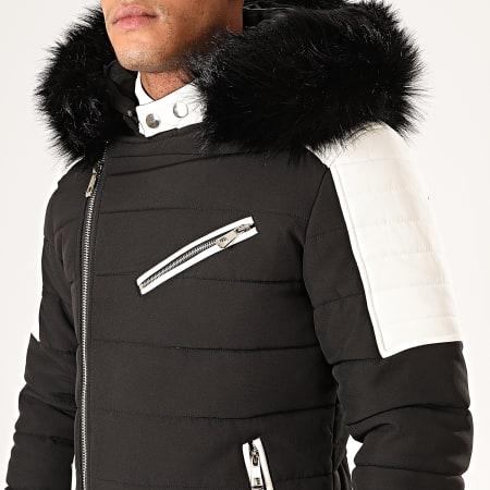 MTX - Doudoune Capuche Fourrure 977 Noir Blanc