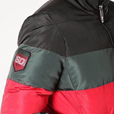 Superdry - Doudoune Colour Stripe Sports Puffer M5000012A Vert Rouge Noir