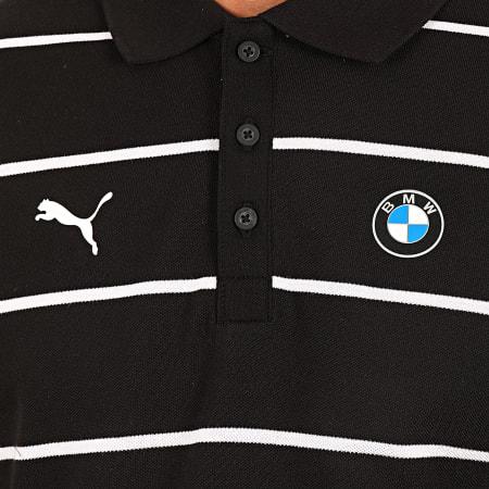 Puma - Polo Manches Courtes A Rayures BMW Motorsport 595456 Noir Blanc