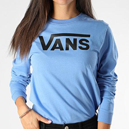 Vans - Tee Shirt Femme Manches Longues Bleu Clair Noir