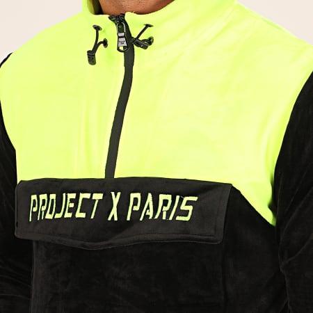 Project X - Sweat Col Zippé 1920038 Noir Jaune Fluo