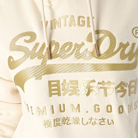 Superdry - Sweat Capuche Femme V Logo Premium Luxe Entry W2000062A Beige Doré