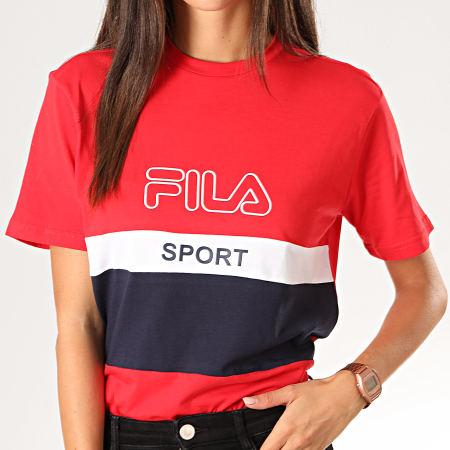 Fila - Tee Shirt Femme Tricolore Fabya 682852 Rouge Bleu Marine Blanc