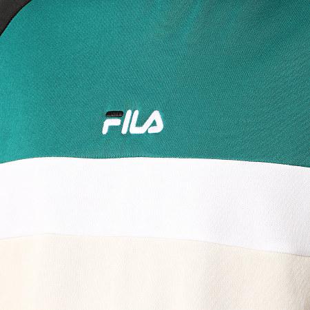 Fila - Sweat Crewneck A Bandes Paavo 687269 Beige Vert Noir