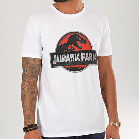 Jurassic Park - Tee Shirt Logo 3D Blanc