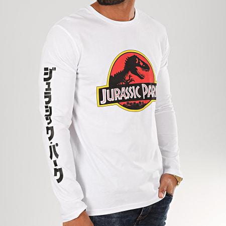 Jurassic Park - Tee Shirt Manches Longues Original Logo Blanc