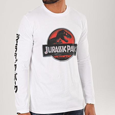 Jurassic Park - Tee Shirt Manches Longues Logo 3D Blanc