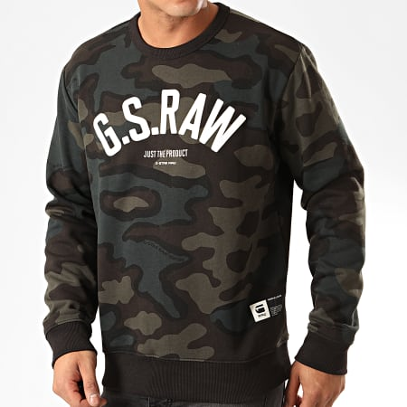 G-Star - Sweat Crewneck Camouflage Graphic Slim D15675-C022 Vert Marron