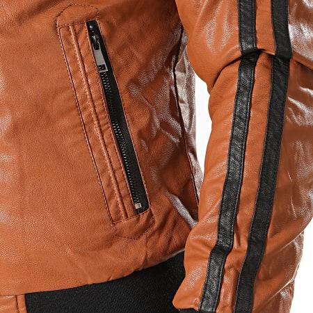 Classic Series - Veste Biker Capuche A Bandes TR-16957 Camel Noir