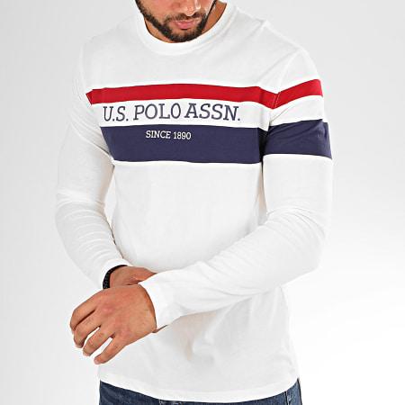 US Polo ASSN - Tee Shirt Manches Longues Tricolor Stripe Blanc Cassé Bleu Marine Bordeaux