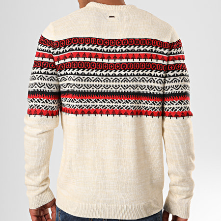 Only And Sons - Pull Rammer 7 Beige Chiné Rouge