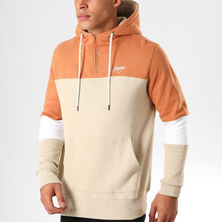 Wrung - Sweat Col Zippé Capuche Life 19 Beige Orange
