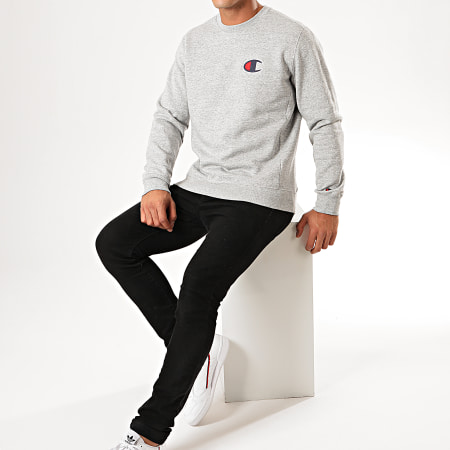 Champion - Sweat Crewneck Suede C Logo Terry 213513 Gris Chiné