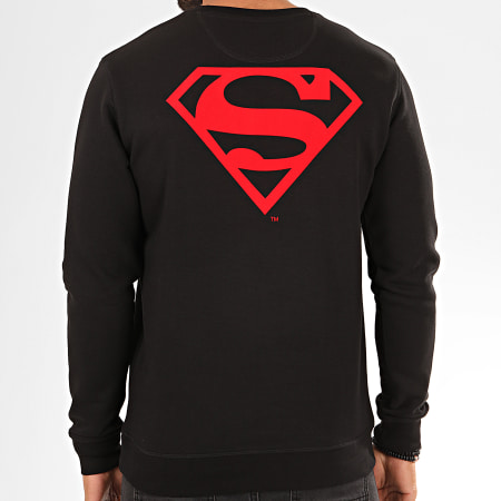 Superman - Sweat Crewneck Back Logo Feutrine Noir Rouge