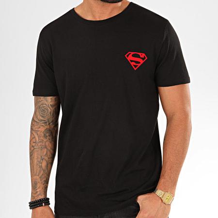 Superman - Tee Shirt Back Logo Feutrine Noir Rouge