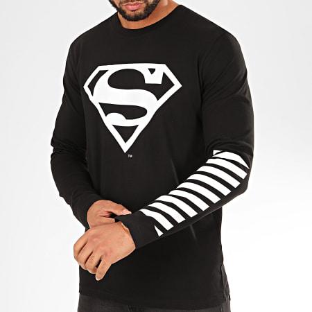 Superman - Tee Shirt Manches Longues Sleeve Noir