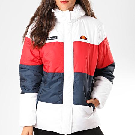 Ellesse - Doudoune Capuche Femme Tricolore Ussolini SGD08004 Blanc Bleu Marine Rouge
