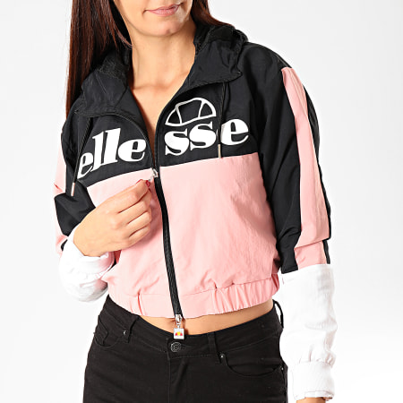 Ellesse - Veste Crop Zippée Capuche Femme A Bandes Deve SGD08013 Noir Rose