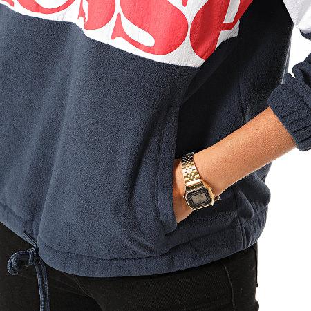 Ellesse - Sweat Col Zippé Femme Polaire Tricolore Toudi SGD08033 Bleu Marine Rouge Blanc
