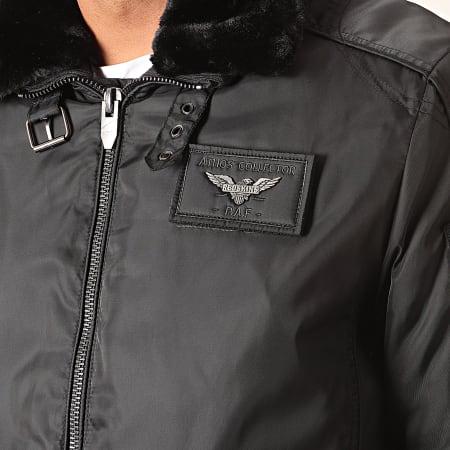 Redskins - Bomber Col Fourrure Hurrican Fighter Noir