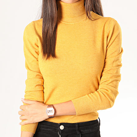 Girls Only - Pull Col Roulé Femme MG2125 Jaune Moutarde