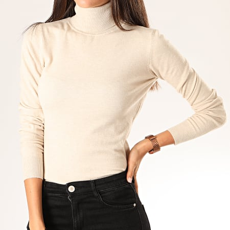 Girls Only - Pull Col Roulé Femme MG2125 Beige