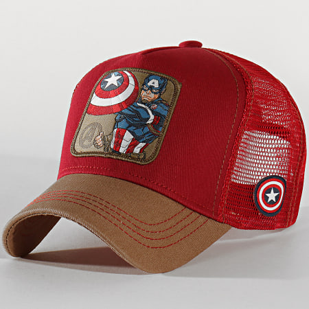 Captain America - Casquette Trucker Captain Bordeaux Beige