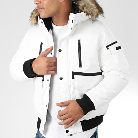 Jack And Jones - Doudoune Fourrure Globe Bomber Blanc